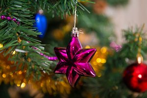 Purple star Christmas ball on tree