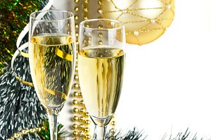 Christmas champagne composition