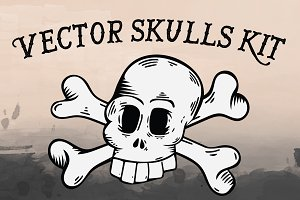 Hand Drawn Vector Skulls Kit
