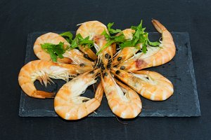 Tasty Shrimp With Parsley On Stone