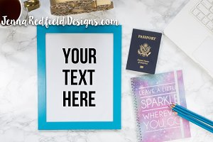 Travel Blue Frame Styled Stock Photo
