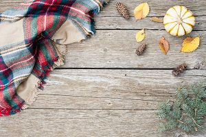 Fall Stock Image with Blanket Scarf