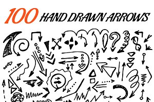 100 vector hand drawn arrows