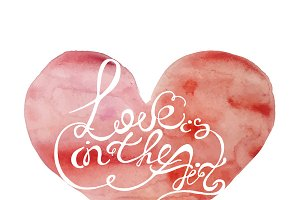 Watercolor vector lettering heart