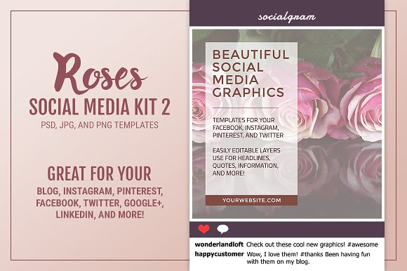Roses Social Media Kit 2 ~ Social Media Templates ~ Creative Market