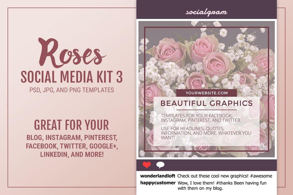 Roses Social Media Kit Social Media Templates Creative Market - Instagram cut out template