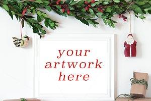Christmas White Frame Mockup