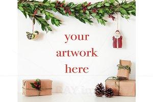 Christmas Blank Wall Mockup