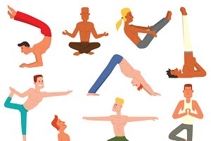 Fitness group yoga man vector