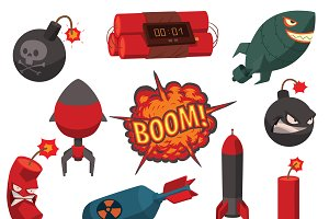 Military bomb icons set vector