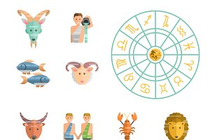 Zodiac signs flat buttons set