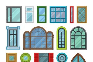 House windows vector elements