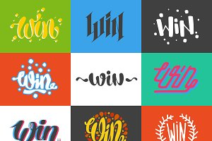Win sign vector set