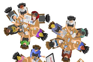 Busy business people top view vector