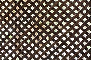 Latticed wooden partition.