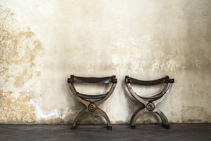 Old chairs to vintage wall