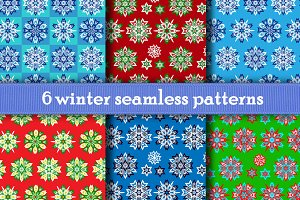 6 Winter Seamless Patterns