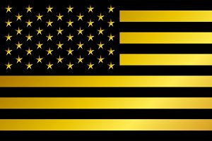 USA flag, American flag gold, black