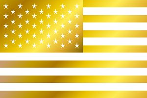 USA flag vector, American flag gold