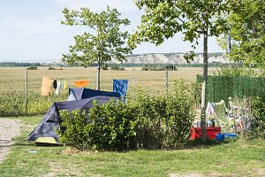 Tents on campsite. Green meadow