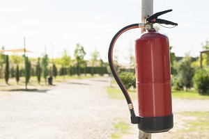Fire extinguisher in the woods.