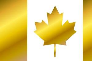 Canada flag, flag of Canada gold 2