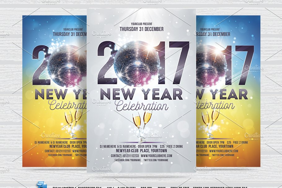New Year Celebration Flyer - Flyer Templates | Creative Market Pro