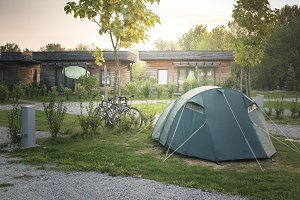 Tent and bikes on campsite