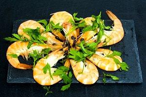 Tasty Shrimp With Parsley On Stone