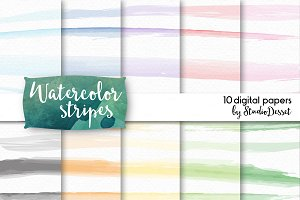 Watercolor Stripes - digital papers