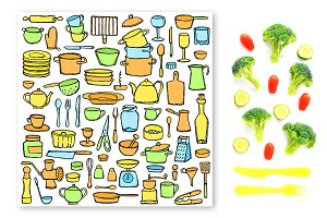 Hand Drawn Kitchen Set