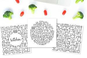 3Kitchen Set+3Seamless Patterns