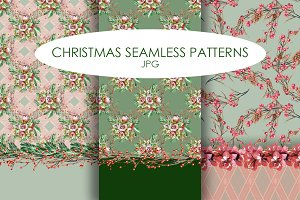Christmas Floral Pattern Set