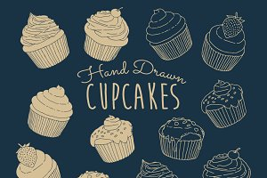 Hand Drawn Cupcakes Vector Pack