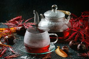 Autumn red hibiscus tea
