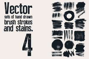 Set of hand drawn brush strokes.