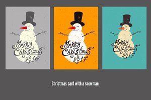 Christmas card design with snowman.