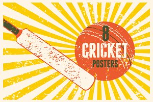 Cricket typography vintage posters.