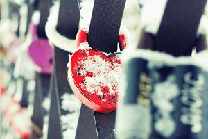 Heart Shaped Love Padlocks, Closeup