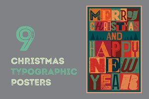 Typographic vintage Christmas card.