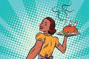 housewife with roast Turkey