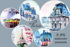 Paris illustration watercolor