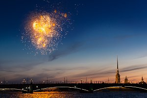 Fireworks in Saint-Petersburg Russia