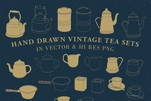 Hand Drawn Vintage Tea Set Vector