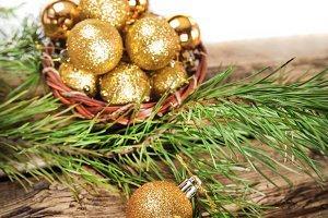 Golden Christmas composition