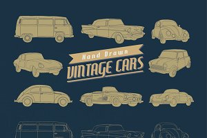 16 Hand Drawn Vintage Retro Cars