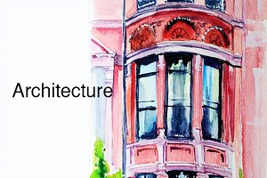 Architecture illustration watercolor