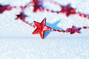 Christmas composition with red stars