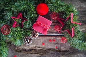 Red Christmas composition