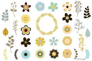 Vintage bohemian, rustic flowers set